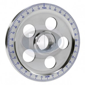 Stock Size Aluminum Pully Blue Numbers Polished 5-Hole ( Display Pack )