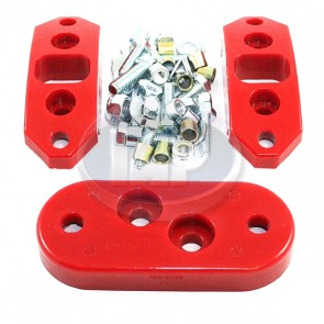 22-3040 Red Urethane Kit Front/Rear Solid Trans Mounts ( Display Pack )