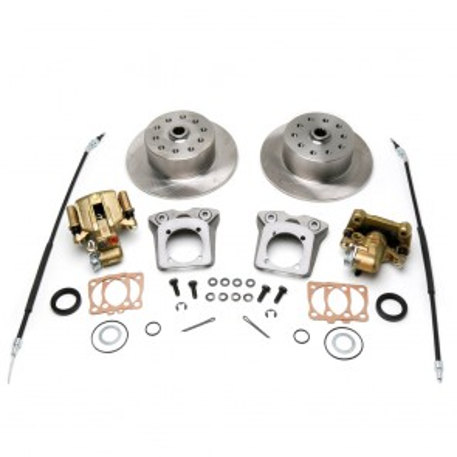 "Disc Brake Kit Rear - Swing Axle ""Short Spline Axle"" to mid 67 - E-Brake - 5 x 4.5 / 5 x 4.75 Ford / Chevy Bolt Patterns"